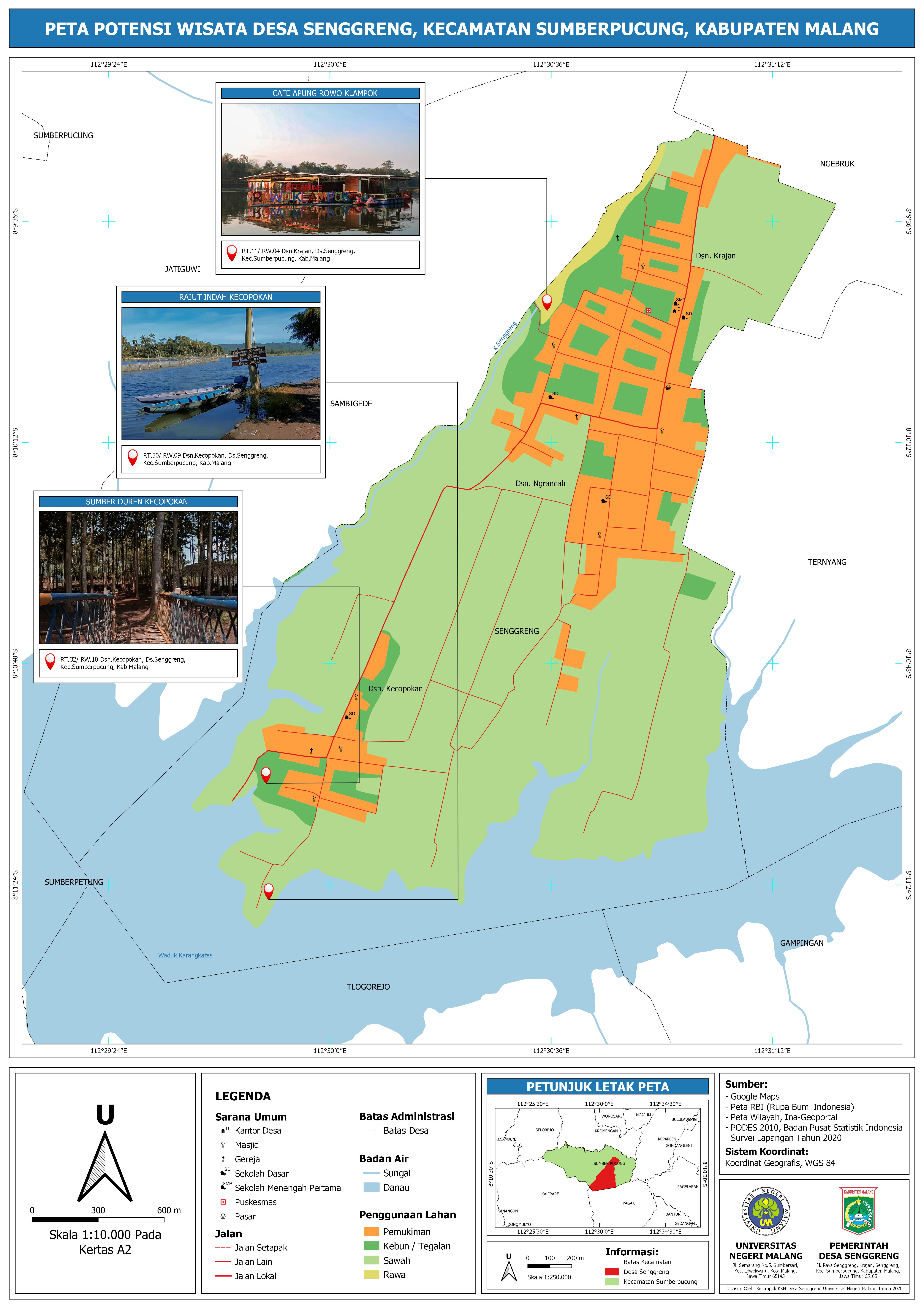 Peta potensi wisata Desa Senggreng yang telah dibuat oleh mahasiswa KKN UM 2020